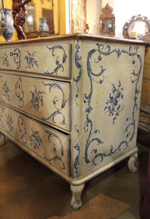 An 18th c. Italian Painted Blue & White Commode Chest of Drawers | From a unique collection of antique and modern commodes and chests of drawers at https://www.1stdibs.com/furniture/storage-case-pieces/commodes-chests-of-drawers/