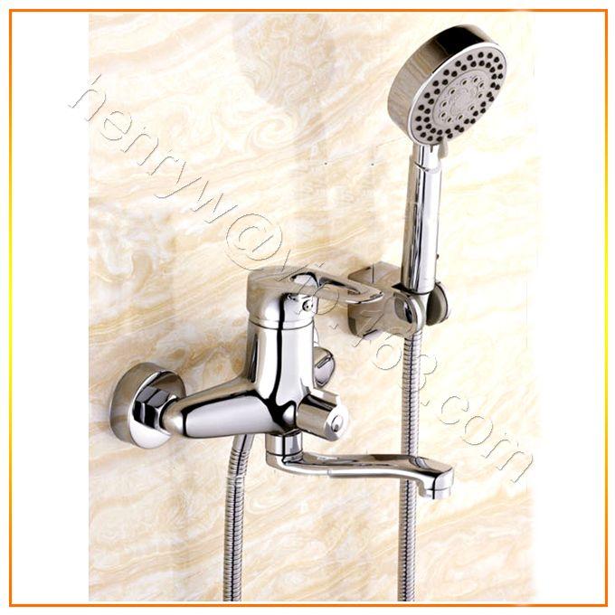 Торгово-люкс латуни ванна-смеситель для душа, Хромированная отделка смеситель для ванны с ручным душем и, Бесплатная доставка L15812