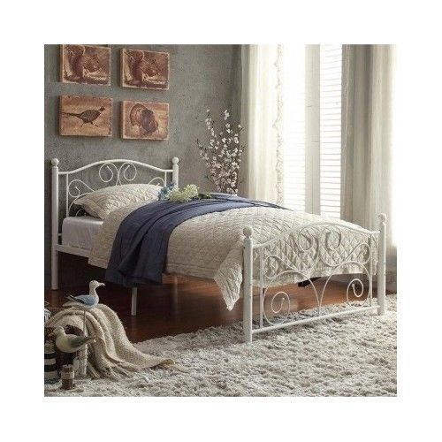 Twin Platform Bed Frame White Headboard Footboard Metal Vintage Cheap Furniture #Adrian #Contemporary