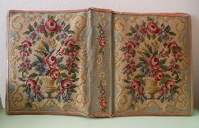 Vintage-30s-40s-Roses-Petit-Point-Needlepoint-Binder-Notebook-Phone-Book-Cover