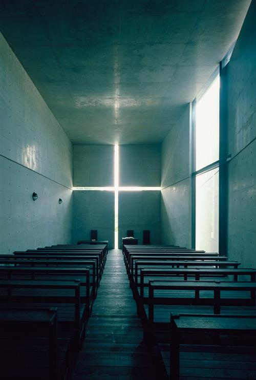 "the Church of Light, designed by Tadao ANDO, Japan - ""Light is the origin of all being. Light gives, with each moment, new form to being and new interrelationships to things, and architecture condenses light to its most concise being.The creation of space in architecture is simply the condensation and purification of the power of light"". -Tadao Ando"