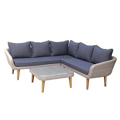 ZANIA outdoor lounge set - garden corner sofa - aluminum and poly rattan