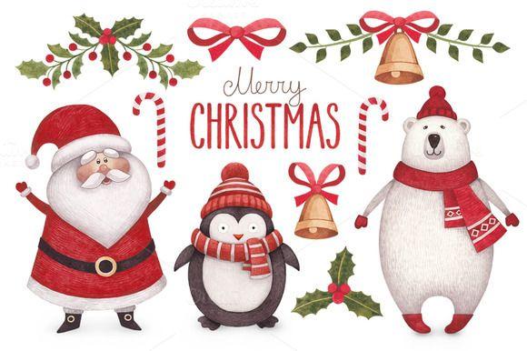 Cute Christmas illustrations by Sundra on Creative Market