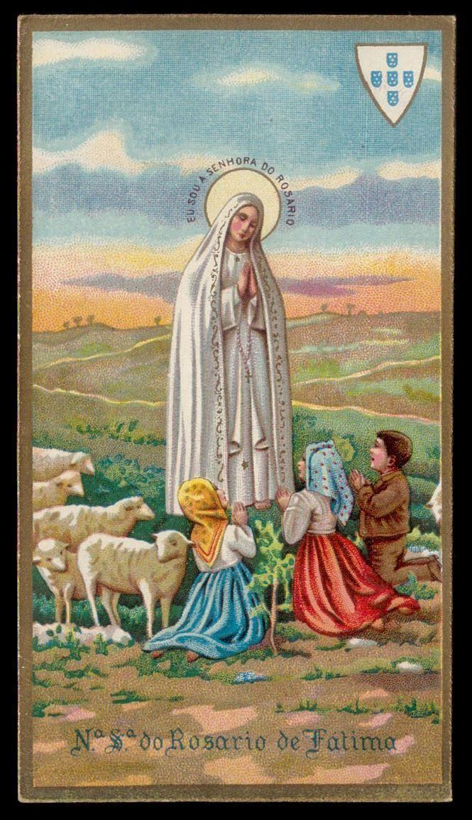 Apparition Our Lady Of Fatima To Saint Shepherd Original Vtg Holy