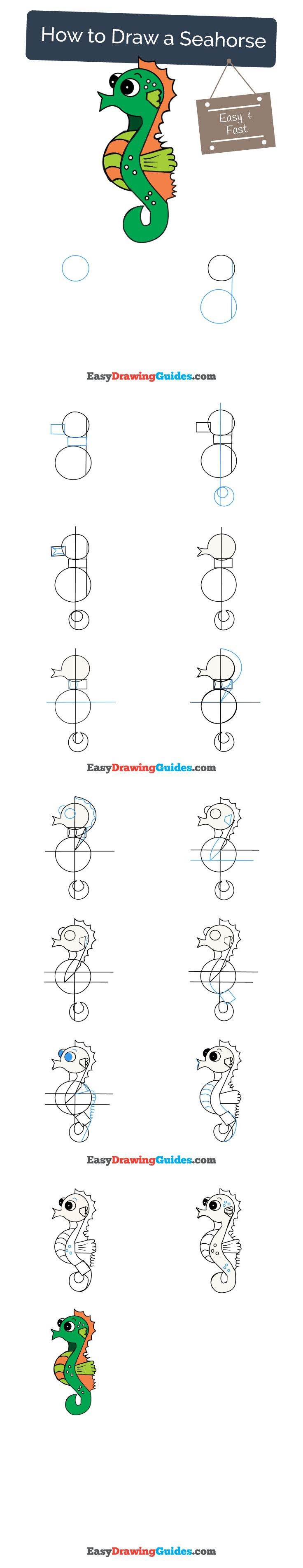 Learn How to Draw a Seahorse: Easy Step-by-Step Drawing Tutorial for Kids and Beginners. #seahorse #drawing. See the full tutorial at https://easydrawingguides.com/how-to-draw-a-seahorse/