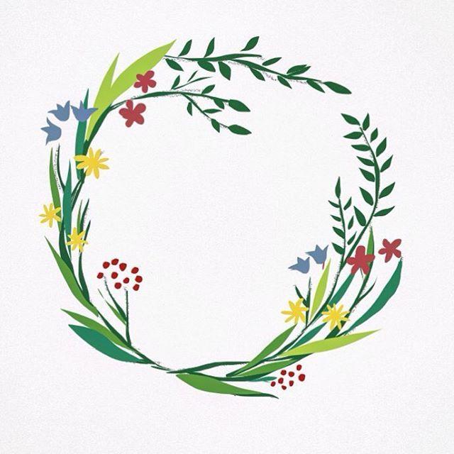 #illustration #digitalart #shreterart #планшетноетворчество #drawing #flowers #цветы #цветочки #венок