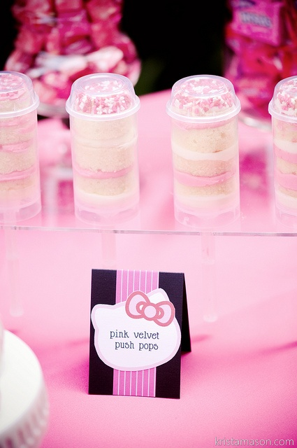 Pink  push pops white cake with sprinkles  So cute!