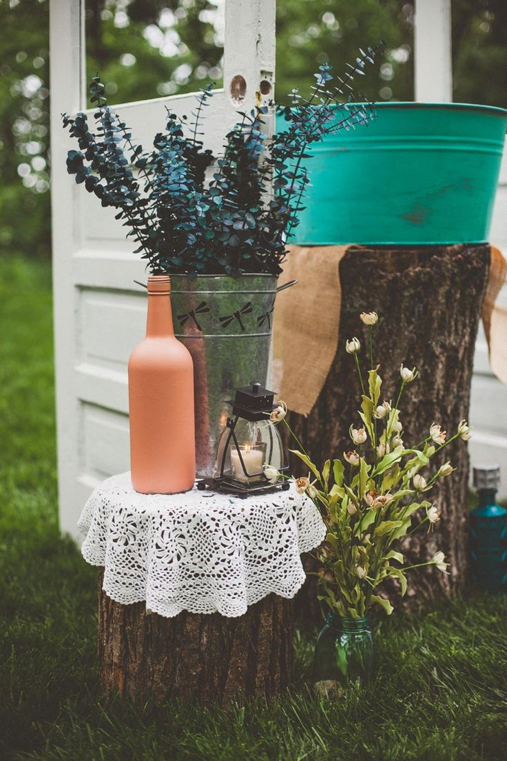 Ashley Taylor's Rustic Farm Wedding Part Two, Lawrence, KS Wedding Photographers » Gracenote Photography decor, details, painted bottles, tub, turquoise, teal, peach, log, burlap