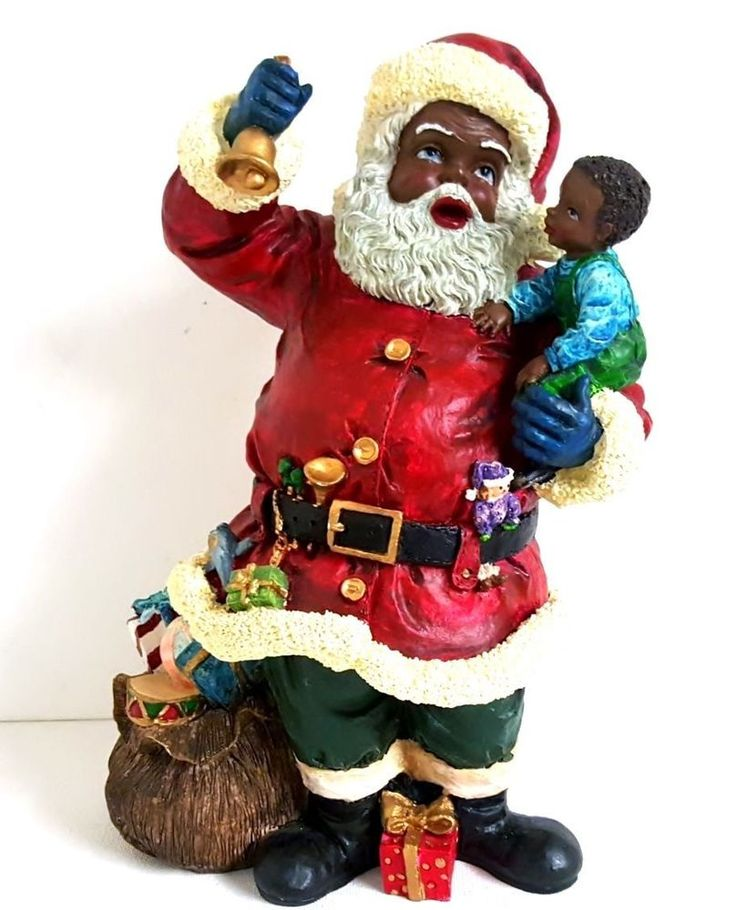 African american christmas santa claus holding a boy for American christmas decorations