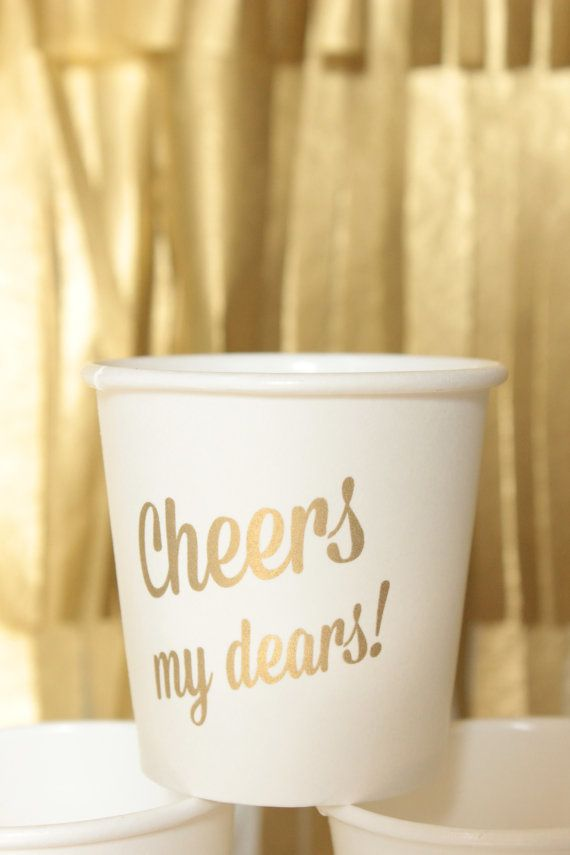 Cheers My Dears! Paper Cups - 12 Cups 4 oz. Please cheers responsibly! from Sucre Shop