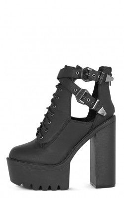Oriana Black Cleated Sole Extreme Heel Boot