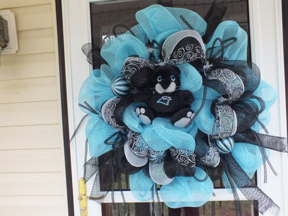 NC Panthers Door Wreath by WreathsEtc on Etsy, $70.00