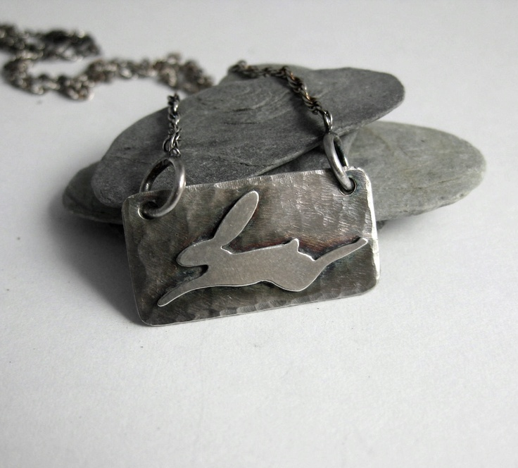 Hare pendant in sterling silver.