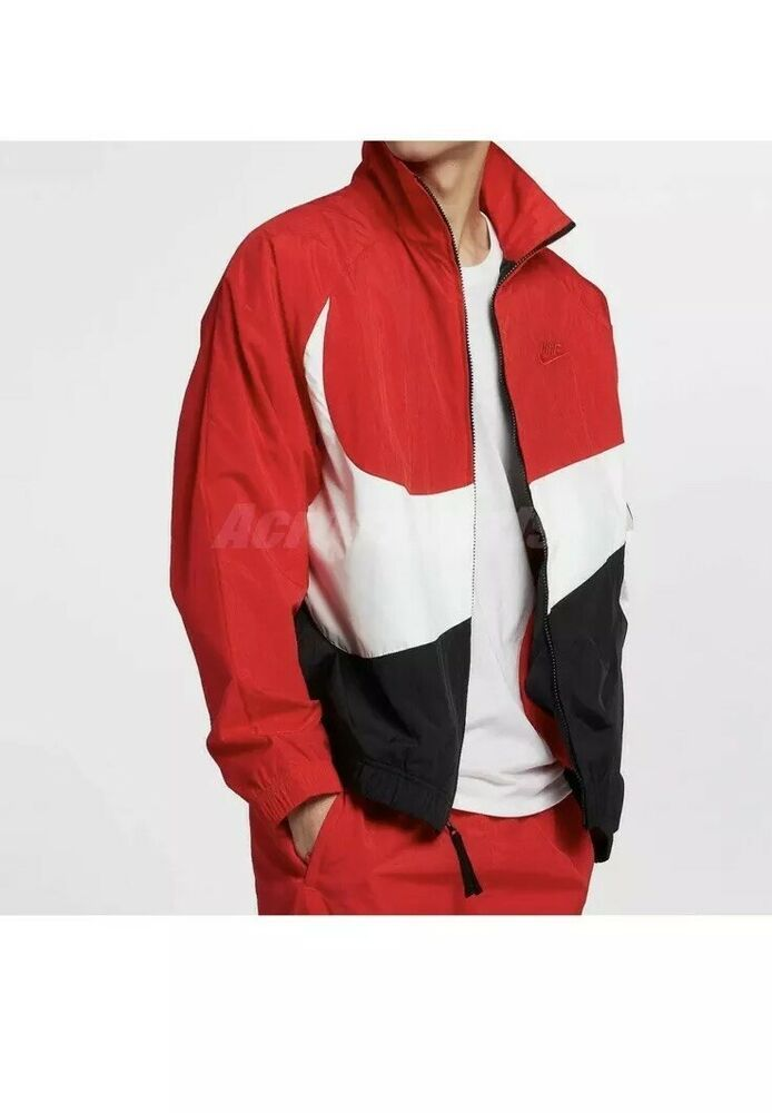 Nike Sportswear Woven Jacket Big Swoosh Training Fitness Red Ar3133 657 Size Xl Nike Woven Jacket Sportswear Nike Sportswear