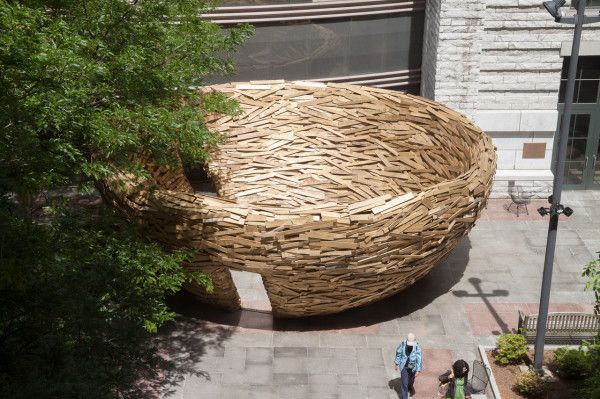 The Reading Nest by Mark Reigelman made out of discarded wood