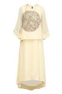 Off White and Gold Peacock Motif A Line Kurta #vasavishah #shopnow #ppus #Happyshopping