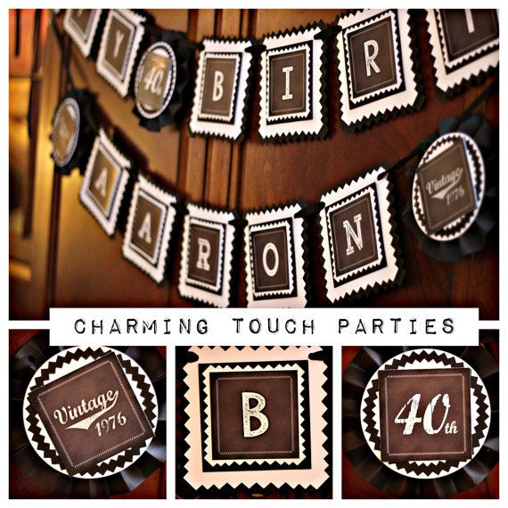 Chalkboard 40th Birthday Party Decorations. 5 piece party decor box. Masculine / Vintage Deluxe. Customizable. ** Can customize AGE, Name, Colors, text and patterns -- just message us! ** This modern and masculine Party box will make a fun + super neat statement at your