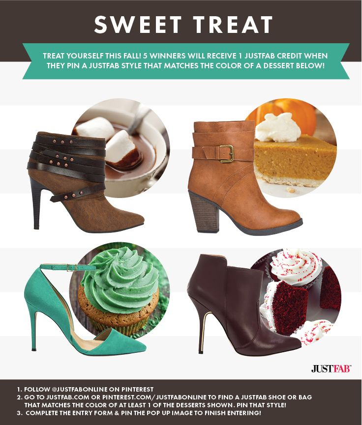 Pin to Win! For a chance to be 1 of 5 winners to get a JustFab style, re-pin this pin and pin a JustFab item from our Fall Inspiration board that matches the color of at least 1 of the desserts shown. Details: https://www.facebook.com/justfab/app_377634229033123?ref=ts