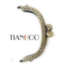 10 adet/grup 9.5 cm Metal Çanta Çerçeve Debriyaj Çanta Çanta Aksesuarları Yapımı için Öpücük Toka Kilit Kolu Antika Bronz Çanta donanım(China (Mainland))