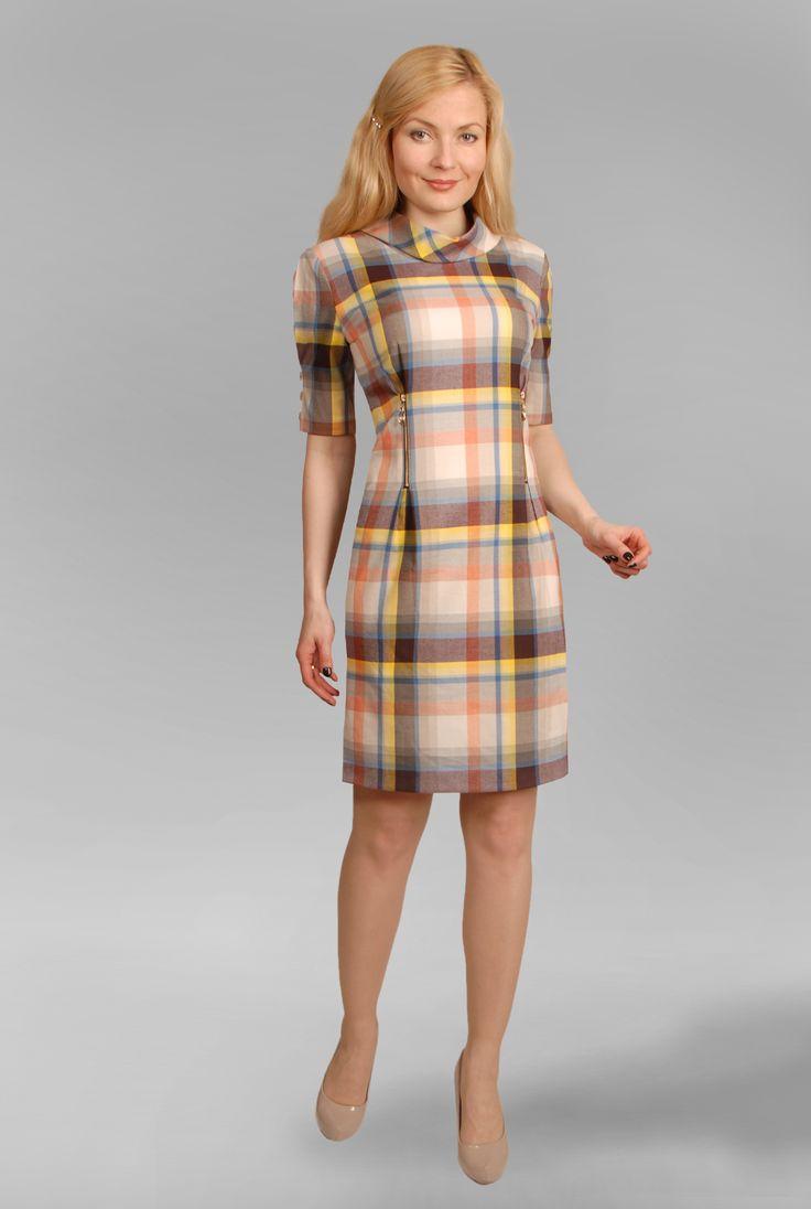 Платье серое длины макси в мелкую клетку с молнией спереди OW07133GY