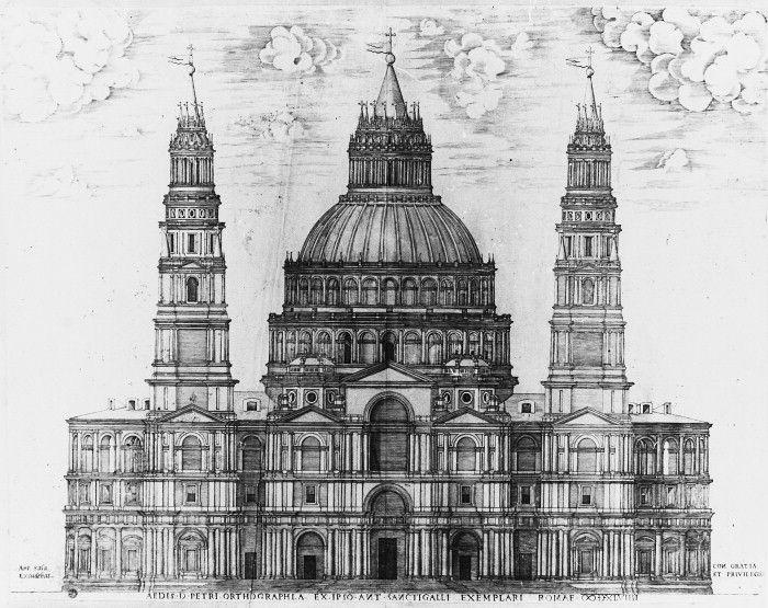 ANTONIO DA SANGALLO: Modelo para la Basílica de San Pedro del Vaticano. Destaca la enorme cúpula y las dos torres.
