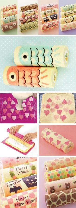 Decorated Swiss Roll Tutorials - these are for the silicone sheet, but I don't know why you couldn't do it with a print out beneath a clear silicone mat or even beneath baking parchment