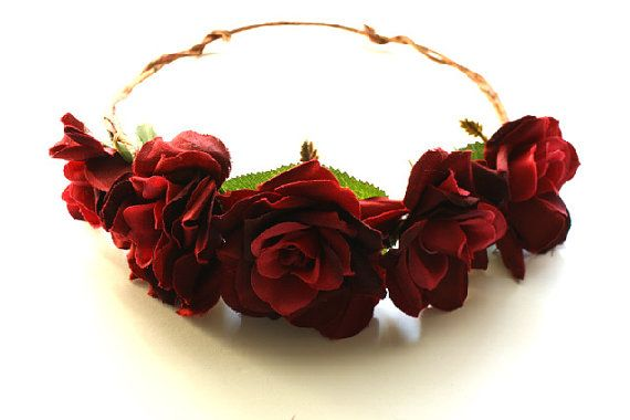 Flower Crown Red Rose Romantic Bridal Hairpiece Rustic Wedding Accessory