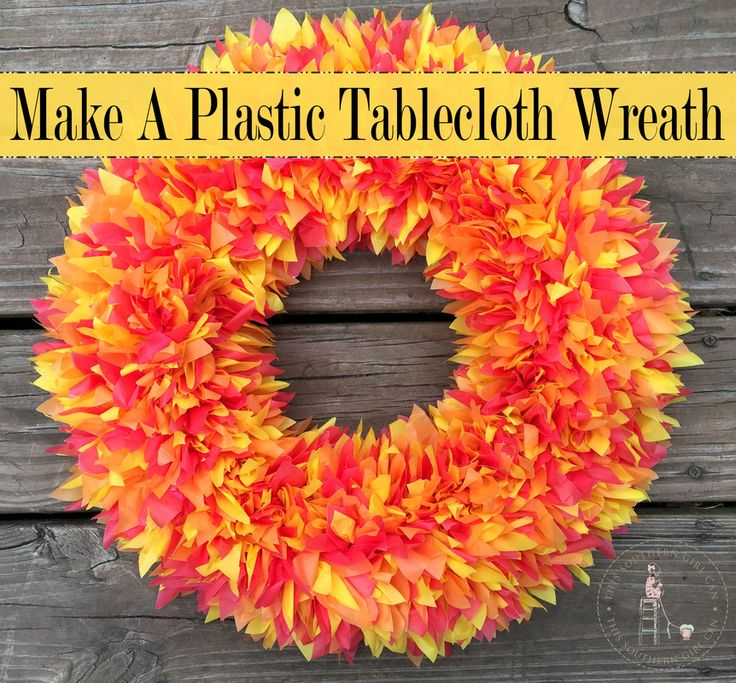 Make a beautiful wreath out of plastic tablecloths with this easy step-by-step tutorial!