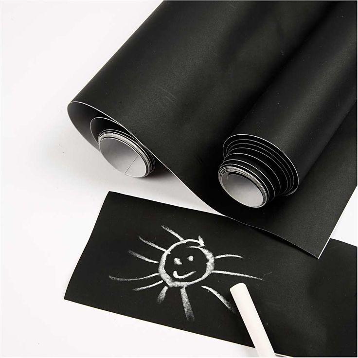 Tavlefolie til krittavle, B: 45 cm, svart, 2m  Til å lage tavlematte