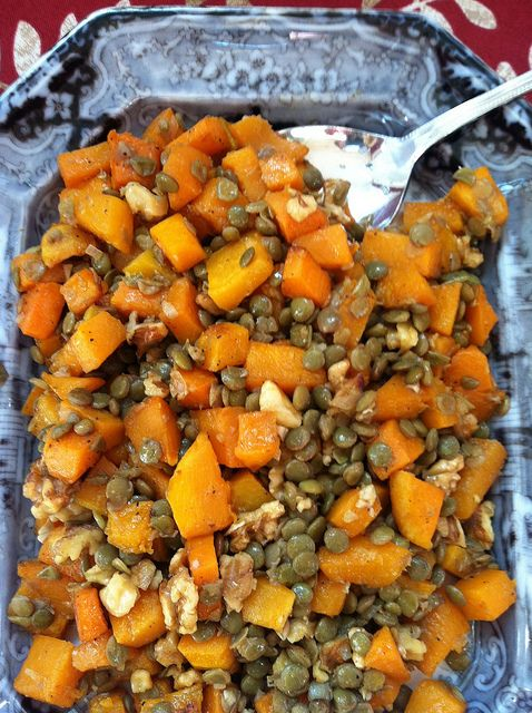Roasted Butternut Squash with Lentils