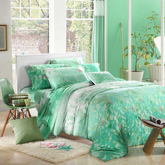 ミント グリーン リーフ プリント寝具セット高級クイーン キングサイズ の シルク キルト布団カバー シート ベッド bedset ベッド カバー シーツ寝室