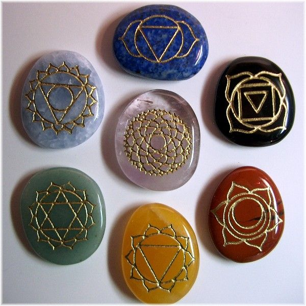 chakra balancing stones.your chakras are linkage points between the aura and the physical body.When they are in good order they will strengthen the aura and prevent leakage. There are 7 major Chakras that function as pathways to take in energy,metabolized, and sent to the nearest corresponding nerve center.these stones are used in crystal healing,Reiki, massage therapy,Ayurvedic, and Yoga practices throughout the world