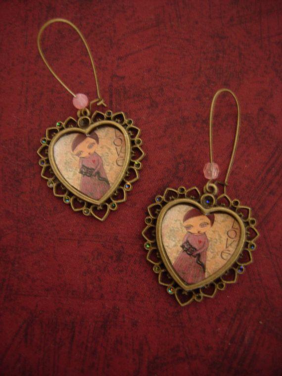 I heart my kitten  art illustrated hearts earrings by eltsamp, $28.00