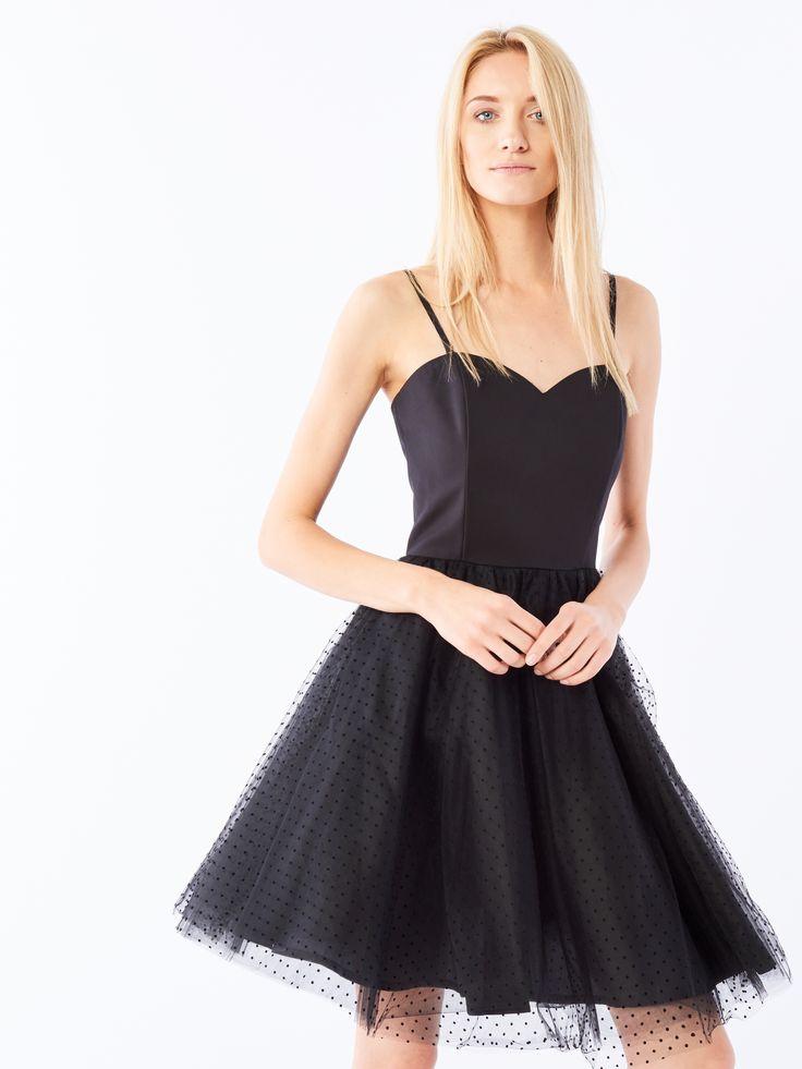 Sukienka z tiulem, SUKIENKI, KOMBINEZONY, czarny, MOHITO