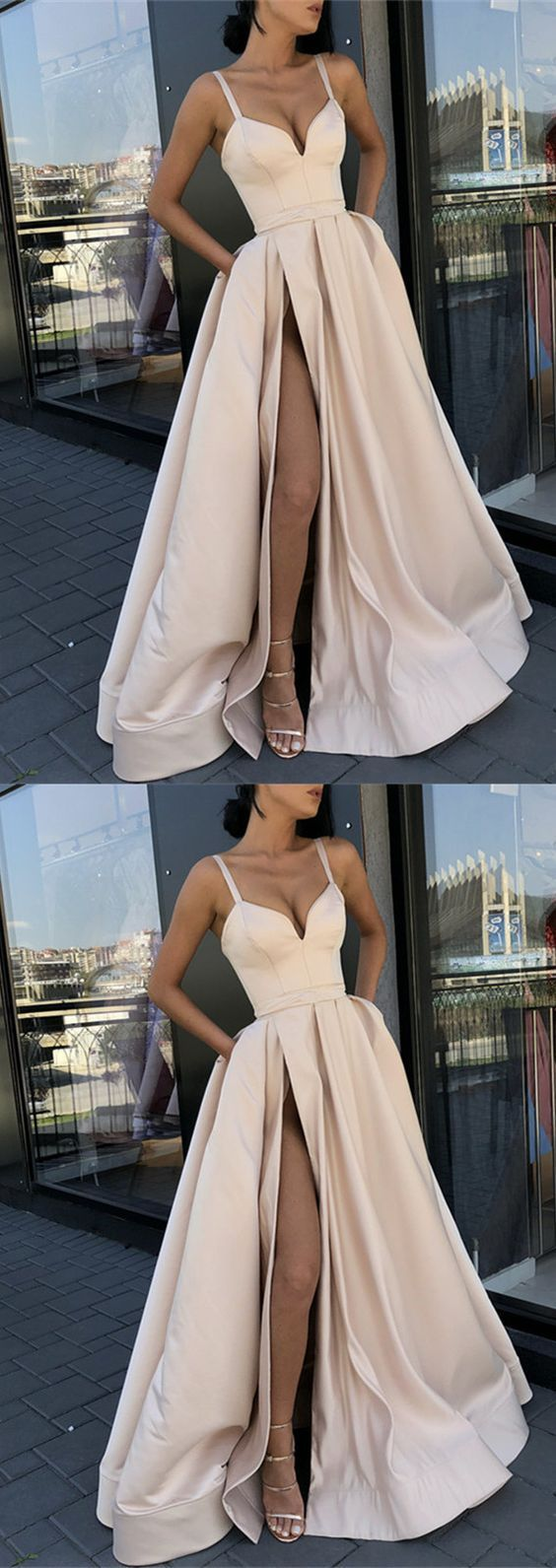 » Ball Gown V Neck Spaghetti Straps Side Split Champagne Long Prom Dresses with Pockets, Bridesmaid Dresses PD1227004