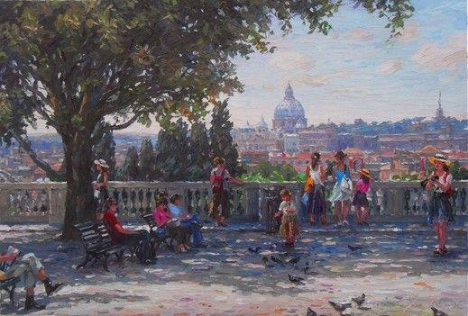 """Barbara Jaśkiewicz """"Rome"""", 55x80 cm, palette knife impressionist oil. http://www.touchofart.eu/Barbara-Jaskiewicz/bjas5-Rzym/. Cityscape painting."""