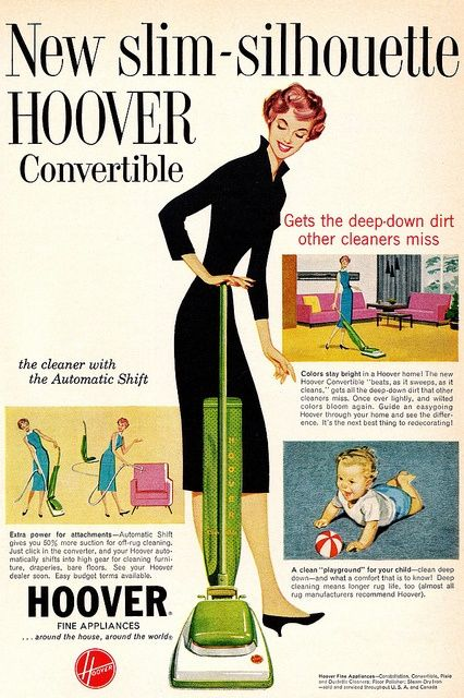 1950s Hoover advertisement Classic Ads, Vintage Posters, Old-Fashioned Advertisements, retro commercials