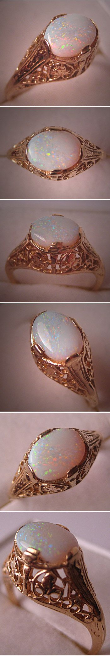 Vintage Australian Opal Ring Gold Filigree by AawsombleiJewelry, $695.00