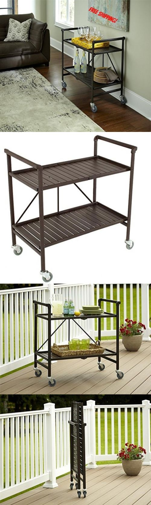 Outdoor buffet table serving cart as well century modern console table - Bar Carts And Serving Carts 183320 Rolling Serving Cart Brown Portable Folding Kitchen Bar Beverage