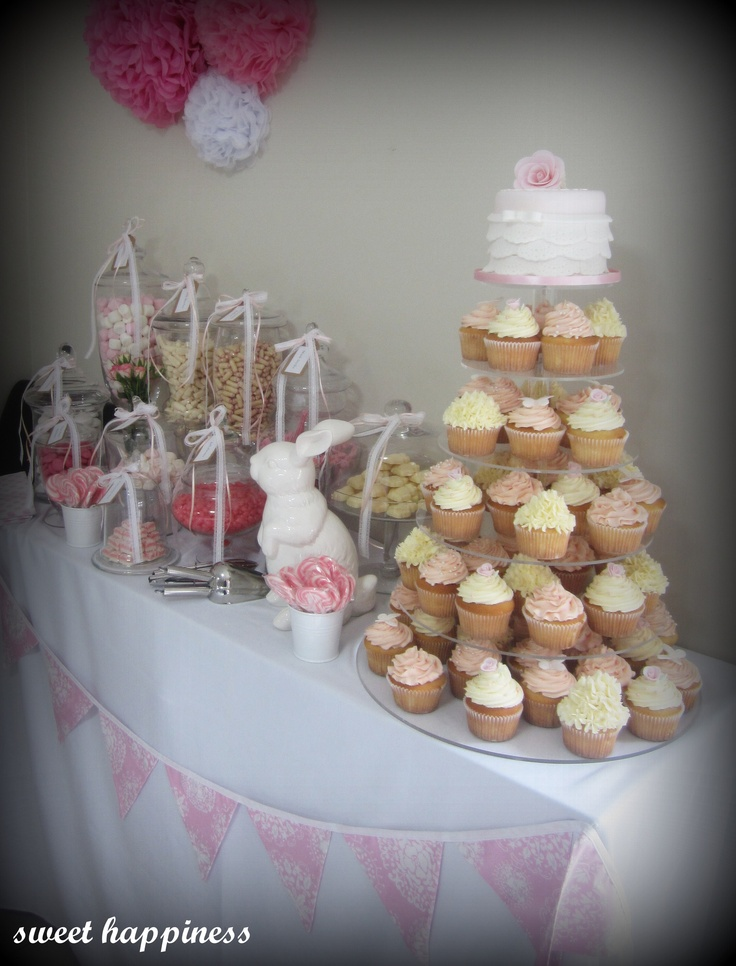 Baptism christening pink girls candy lolly buffet. Visit our facebook page: https://www.facebook.com/pages/Sweet-Happiness-cakes-cupcakes-lolly-buffets/565164206836394