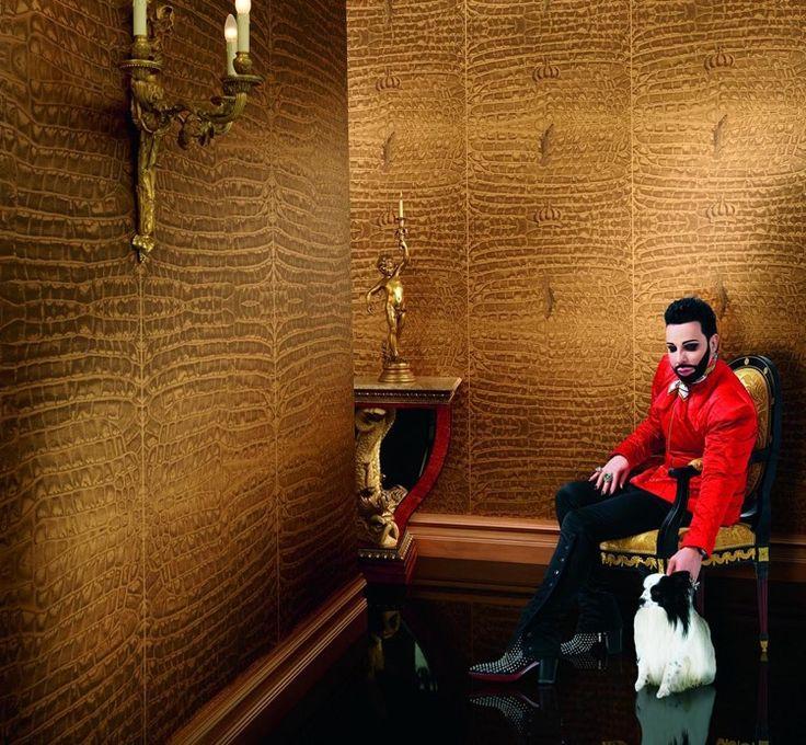 designer-tapeten-gold-muster-kroko
