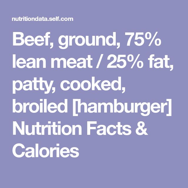 Beef, ground, 75% lean meat / 25% fat, patty, cooked, broiled [hamburger] Nutrition Facts & Calories