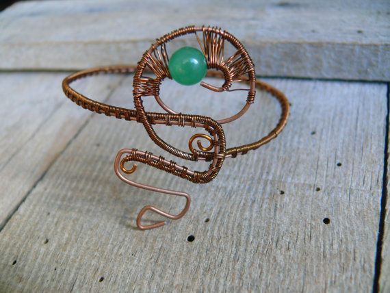 Nephrite Wire Wrapped Bracelet Copper Bracelet Copper Cuff #Handmade #Cuff  #etsy #bracelet #wirewrapped