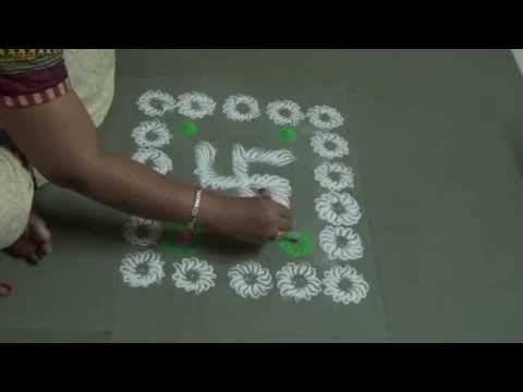 Easy Rangoli Design by Kshama - YouTube