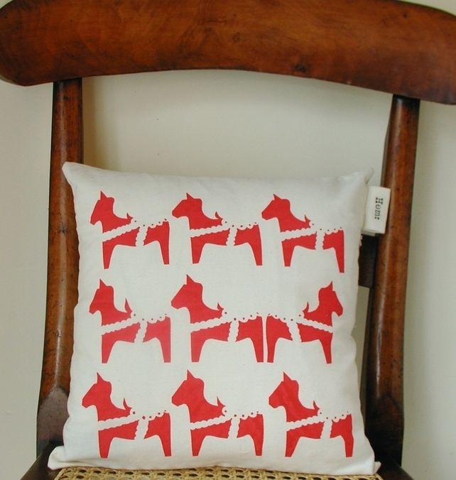 Scandinavian Nordic Christmas Dala Horse Screenprinted Cushion £29.99 by Hem on Folksy #handmade #SmallBizSatUK