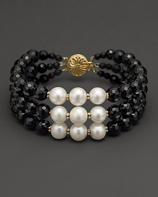 BLaCK oNyX aND FReSH WaTeR PeaRL BRaCeLeT