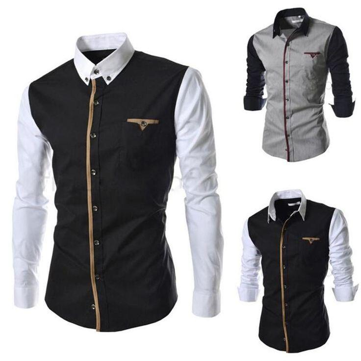 New Men Shirt Long Sleeve Fashion Sim Fit Dress Shirt Design Patchwork