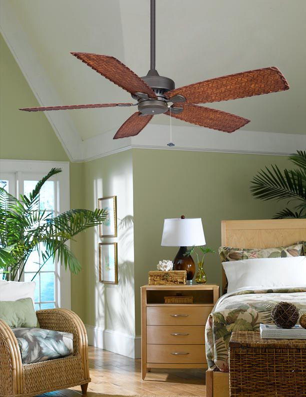 Fanimation 52 Cancun Outdoor Ceiling Fan In Bronze W Woven Bamboo Blades