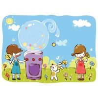 cartoon girl and boy kids enjoy with candy with dog in park vector