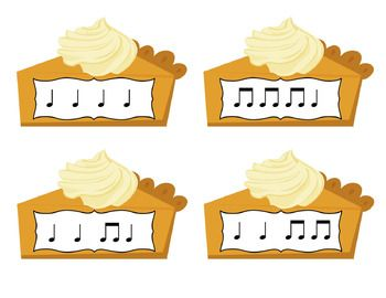 Elementary music rhythm games - Pick a Piece of Pie Rhythm Game: Practice reading and decoding rhythms ta and titi - This game would be great for rhythm review during fall and Thanksgiving! It would also be fun for your older beginners!